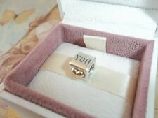 Genuine Authentic Pandora Silver & 14ct Gold I Love You Heart Charm - 790200