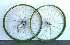 """Lime Green 26"""" x 1.75 Alloy Bicycle WheelSet Front /Rear Cruiser Lowrider Bikes"""