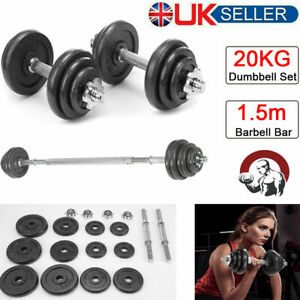 """20kg Cast Iron Dumbbell Set 1"""" Weight Plate 1.5m Barbell Bar Gym Workout Fitness"""