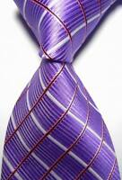 New Classic Checks Purple White Pink JACQUARD WOVEN 100% Silk Men's Tie Necktie