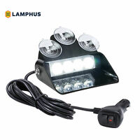 SolarBlast 4W White LED Warning Strobe Dash Lights for Emergency Vehicle Truck