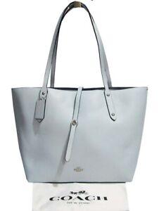 COACH Polished Pebbled Leather Market Tote Sv/Sky Bag Msrp:$295.00