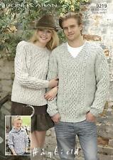 Sirdar 9219 Knitting Pattern Family Sweaters in Hayfield Bonus Aran