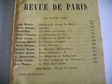 LA REVUE DE PARIS n° 16 - 1934 revue littéraire MAUROIS MADELIN HUDSON etc