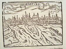 Straubing  Bayern  sehr seltener echter alter Holzschnitt von Saur 1610