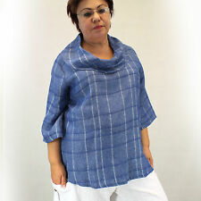 NEW Chalet Plus Size Cowl Neck Blue Plaid 100% Linen Blouse 1X Made in USA