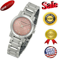 100% NEW  Burberry Diamond Pink Dial Stainless Steel Ladies 26mm Watch BU9223