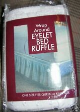 """WHITE EYELET DUST RUFFLE ELASTIC BEDSKIRT 18""""DROP----KING---COMES IN BEIGE ALSO"""