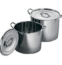Large Stainless Steel Kitchen Stockpots Casserole Dishes Cooker Pots & With Lids
