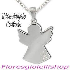 Collana Angelo Custode, ciondolo angioletto con il nome argento 925 con diamante