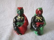 Vintage Red & Green Devil Satan Salt and Pepper Shakers Chalkware