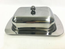 Stainless Steel Butter Dish with Lid Butter Plate Margarine Storage Storer Tray