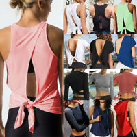 Women Sexy Open Back Yoga Tank Top Backless Activewear Workout Shirt Long Sleeve