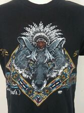 Vtg 90's Badlands South Dakota Southwestern Aztec Indian Wolf Trucker t Shirt Xl