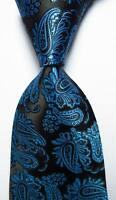 New Classic Paisley Sea Blue Black JACQUARD WOVEN 100% Silk Men's Tie Necktie