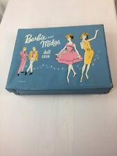 Vintage 1963 Barbie And Midge Doll Case Blue Vinyl Trunk Mattel