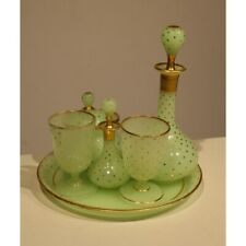 Antique 19th French Pistachio opaline starry night table set