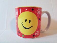 Smiley Face Coffee Cup Mug Burton & Burton Red Yellow Emoji Happy Swirls Stars