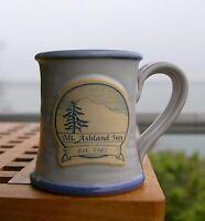 Mount Mt. Ashland Inn Est. 1987 Spun Pottery Coffee Mug Cup Blue Rim Handmade