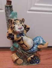 made in Italy wine bottle decanter a tiger resting in a tree unique a rare find