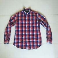 Banana Republic Mens M Soft Wash Cotton Red Blue White Checked Button Up Shirt