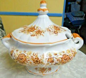 Vintage Large Brown & Orange Floral Soup Tureen Autumn Look