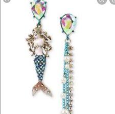 Betsey Johnson Multi Tone Crystal Mermaid Mismatch Earrings JB 207