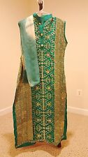 Ladies Turquoise with Golden Embroidered Design Pakistani Suit Salwar Kameez