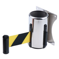 Wall Mounted Crowd Control Wall Barrier Retractable Belt Diagonal Stripe