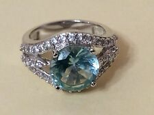 Sterling Silver Round Cut Topaz Cubic Zirconium Ring Size 5.5