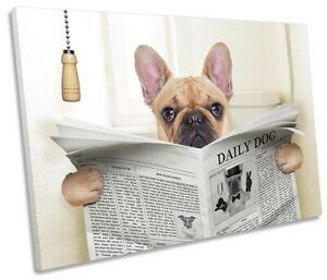 French Bulldog Newspaper Toilet Picture SINGLE CANVAS WALL ART Print