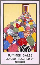 Vintage Summer Sales London Underground Rail Poster Travel Art Print A4