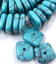 12x4mm Blue Turquoise Square Heishi Rondelle Beads (45 pcs)