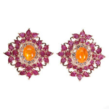 Oval Orange Fire Opal 9x7mm Ruby White Topaz 925 Sterling Silver Earrings