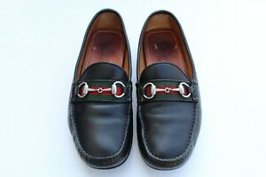 GUCCI Mens 'Damo' Web Stripe Black Red Driving Loafers Size 7.5 G/ US 8