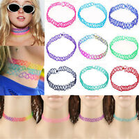 2X Vintage Stretch Tattoo Lace Choker Necklace Elastic Gothic Henna Punk 80s 90s