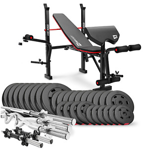 Strong Home Exercise Bench With Prayer Book +SET 173 kg Weights Plates & Bars