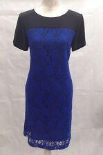 Black & Royal Blue Lace Short Sleeved Shift Dress UK- 12 Kaliko   A41
