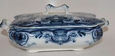 VERY LOVELY F & SONS DEVON BURSLEM FLOW BLUE RECTANGULAR COVERED DISH