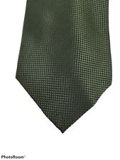 "Umo Lorenzo Tie Green & Black Squares Mens 100% Polyester USA 58"" Hand Made Neck"