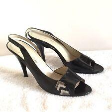Vintage 9N Garolini Black Gray Slingback Stiletto Heels Leather Made In Italy