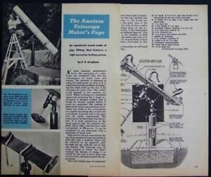 Equatorial TELESCOPE Mount 1954 How-To build PLANS Pipe parts