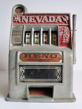 Vintage Metal Novelty Slot Machine Toy Coin Bank Reno Nevada Retro Works