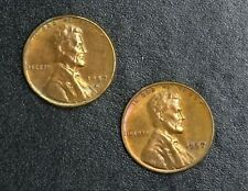 1957-P/D Lincoln Wheat Cent 1c Pair RED  RG362
