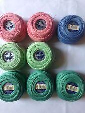 8 balls DMC Cébélia No 10. 50g 100% cotton. pink green blue (O)