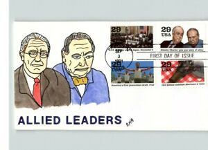 WORLD WAR II Anniversary, Hand Painted CHURCHILL & ROOSEVELT Hand Painted FDC