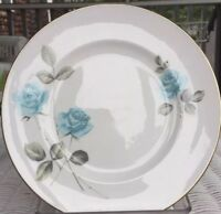 Vintage Crown Staffordshire Fine Bone China Blue Roses 8 1/4 Inch Plate