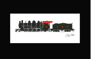 """East Broad Top 2-8-2 #15 10""""x17"""" Print in 10"""" x 20"""" Mat by Andy Fletcher signed"""