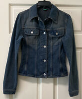 Made In Italy Of Benetton Womens XS Denim Button Up Jacket Pockets