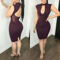Women Sleeveless Short Party Evening US Hollow Sexy Dress Cocktail Bodycon Lace